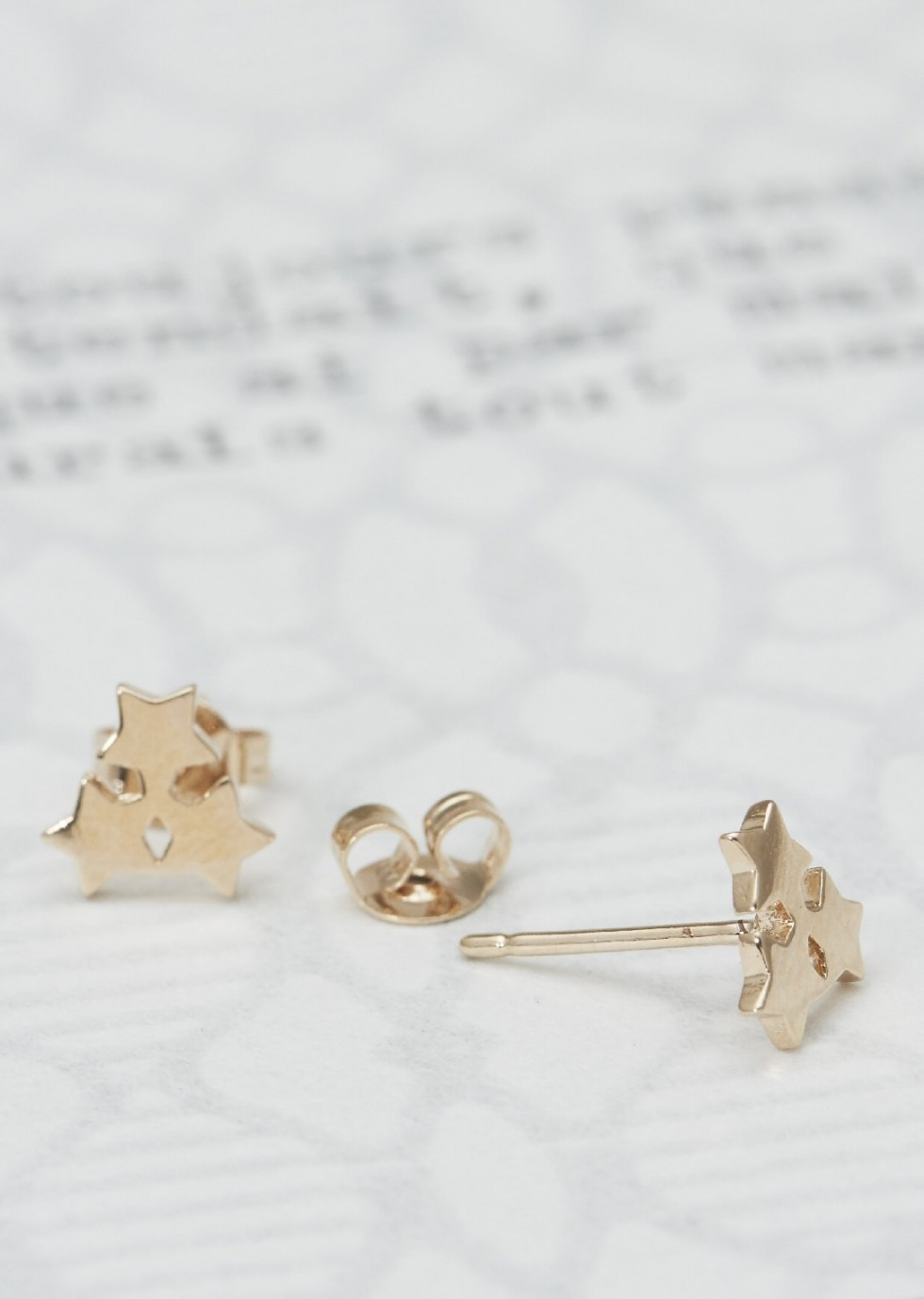 1746ee2ce Pair of stud earrings PENSÉES made of a trio of stars for pierced ears