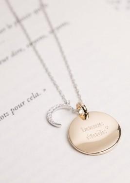 Collier Médaille pendentif bombé lune zircon